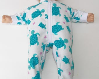 bitty baby doll clothes, Pajamas made Bitty Baby Bitty Twins Dolls White Turquoise Pink Heart Turtle pj's sleeper,new, adorabledolldesigns