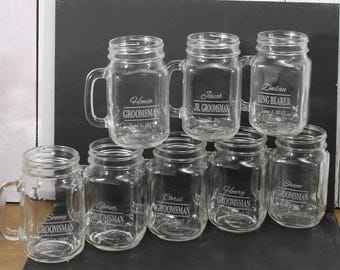 Mason Jar Mugs/Wedding Party/Custom/Name/Date/Groomsman/Engraved/Bride and Groom Glasses/Wedding Glass/Wedding Decor/Shower Gift