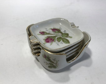 Norcrest Ceramic Ashtray Set Transfer Ware 4 Ashtrays Holder Japan 1940's