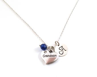 Grandson Heart- Stainless Steel Silver- Swarovski Birthstone - Personalized Initial Necklace - Sterling Silver Jewelry - Gift for Her