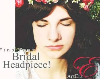 Floral garland for brides or bridesmaids, Bridal rose garland, wedding floral crown, romantic head piece