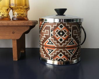 vintage vinyl ice bucket  boho barcart accessory aztec pattern southwestern