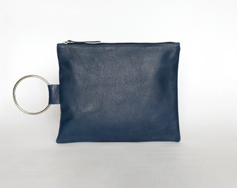 Blue Leather Purse, Evening Clutch Bag, Leather Wristlet Clutch Bag, Soft leather Purse, Leather Clutch Purse with Bracelet handle, Wristlet