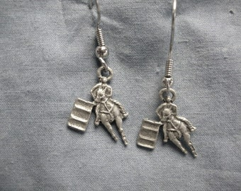 Barrel Racer Earrings, Surgical Steel Wires, Handmade, Lead Free, Pewter Gray Finish