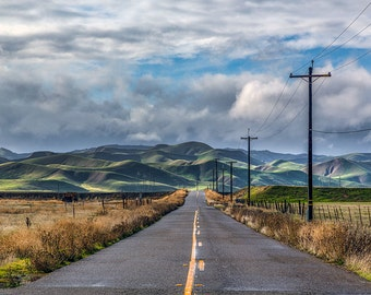 Landscape Photography, A Quiet Lonely Road, Dakota's Green Hills, Home Decor, Fine Art Photography, Home Decor,