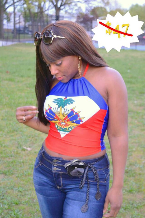 Super Haiti Flag Halter Crop Top Superman Inspired Haitian Fitted Shirt Haitian Flag Day Outfit Belly Shirt