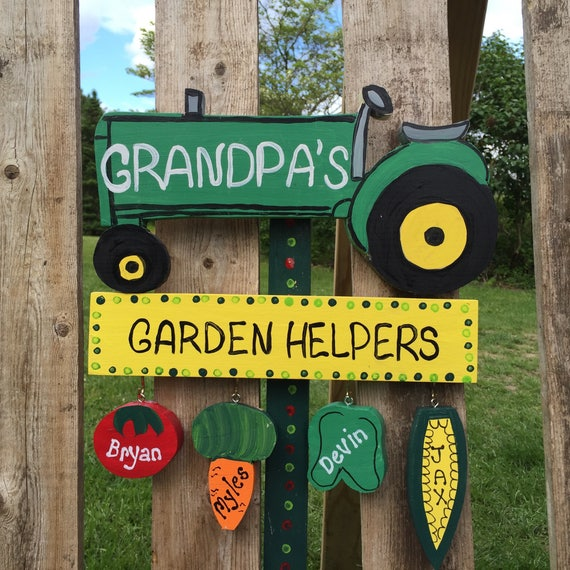 Tractor Garden Stakes : Personalized grandfather father tractor garden stake sign lawn