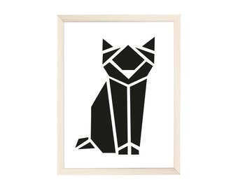 Art Print Origami Cat Black
