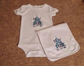 New to the Tribe Gift Set New to the Tribe Teepee Set New to the Tribe Onesie Burp Cloth Set