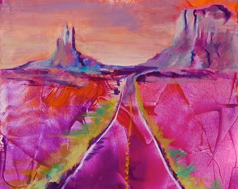 "A Road Called Peace 12""x18"" Landscape Giclee Poster Artist Print Wall Art Colorful Abstract Pop Art"