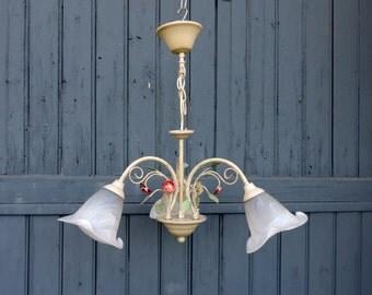 Vintage french tole ware 3 lamp chandelier, ceiling light, pendant light