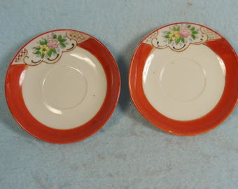 """Vintage-1940s?-2-Small Saucers-Made In Occupied Japan-Lusterware Rim-3 1/4"""" Across"""