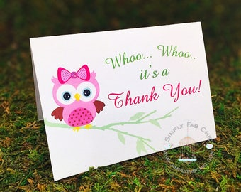 Thank You Card (Set of 10)| Baby Owl Thank You card | Baby Shower Thank You card