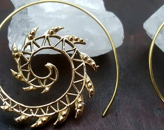 Tribal Spike Gold Earrings