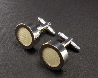 Mens cream cufflinks – silk anniversary gift for him 4th or 12th