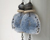 Ghosts - rustic faded blue earrings with fossil coral and artisan ceramics; blue grey, grungy, industrial primitive assemblage earrings