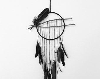 Ready to Ship - Black Feather Dream Catcher// Wall Hanging // Dreamcatcher // Wall Decor