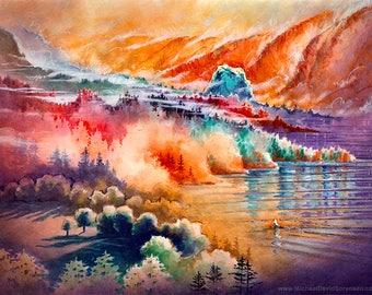 Early Mist Rising at Beacon Rock - Watercolor and Watercolor Crayon Painting Print by Michael David Sorensen. Columbia River Gorge. Orange.