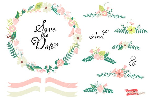 Wedding Invitation Clip Art, Engagement Wreath Clipart, Hand Drawn Floral  Frames, Photography And Branding, Commercial Use Graphic