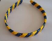 University  of  michigan colors ribbon woven headband