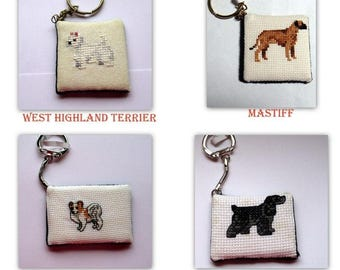 Cross stitch Dog Keychains #2