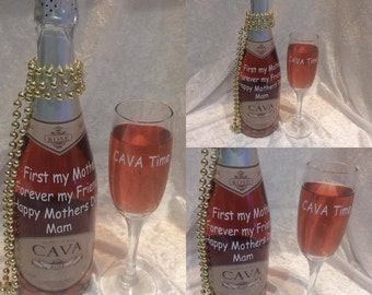 Personalised Bottle Of Cava with Champagne Flute for Mothers Day