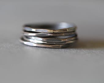 Uber Skinny Hammered Stacking Rings, Set of 5, Sterling Silver, Polished or Patina, Barely There, , Skinny Ring, Midi, Knuckle, Mossy Creek