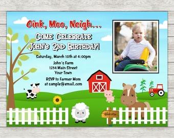Barnyard Birthday Invitation, Farm Birthday Invitation Invite - Printable File or Printed Invitations