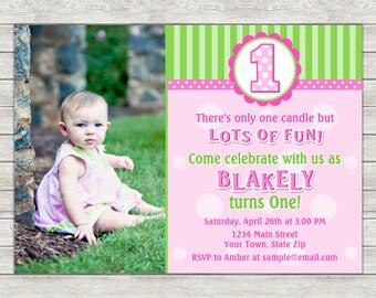 Girl 1st Birthday Invitation - Printable File or Printed Invitations