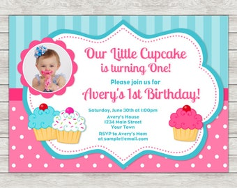 Cupcake Birthday Invitation, Pink Cupcake Girl Photo Invite - Printable File or Printed Invitations