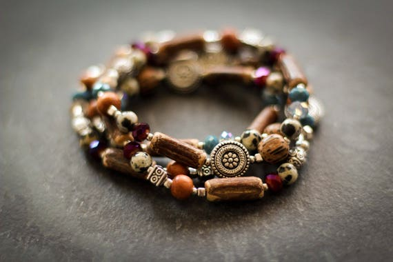Bracelets Woody quartet: bracelet, Crystal, teal, wood, red, Dalmatian, log, metal, flowers