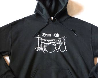 Hoodie, Drum Life Music Drummer Clothing Rock Metal Punk New Age Percussion Sticks, High Quality, Festival Clothes, Men's Women's