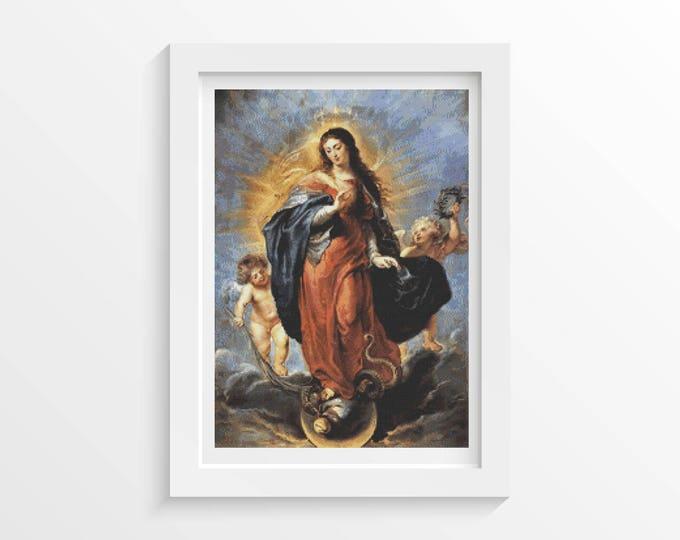 Cross Stitch Pattern PDF, Embroidery Chart, Art Cross Stitch, Immaculate Conception by Peter Paul Rubens (RUBEN01)