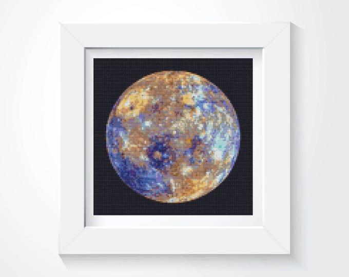 Mini Cross Stitch Kit, Embroidery Kit, Art Cross Stitch, Planetary Series Mercury! (TAS110)