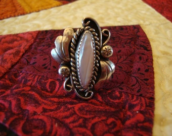 Sliver and Mother of Pearl Ring Size 8