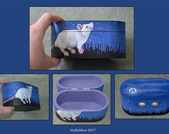 Moonlight Albino Rat Themed Box - Suitable for trinkets, jewellery or as a memory box