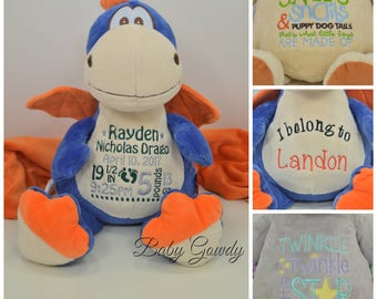 Personalized Dragon - Custom Stuffed Animal - Keepsake - Personalized Baby Gift - Birth Stats Stuffed Animal - Dragon Cubby Animal