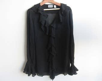 Silk Ruffled Long Sleeve Black Top