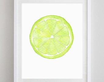 Lime Watercolor Art Print