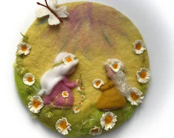 Daisy,Girl,Fairy,Spring, Picture,tapestry,Wet felted,Needle Felted. Waldorf
