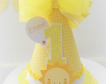 Yellow Polka Dot Sunshine Girl - Yellow Dot, White and Light Orange - You Are My Sunshine Birthday Party Hat - Personalized