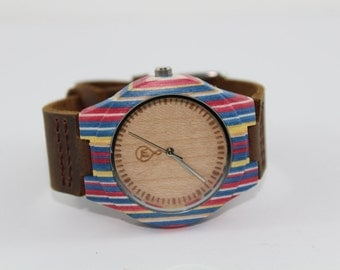 CHRISTMAS SALE! 10%Off! Women's Skateboard Bamboo Wooden Watch with Leather Strap & Minimalist Dial [Handcrafted and Sustainable]