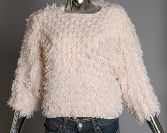 Side Effects late 70's/early 80's handknit pink shaggy sweater