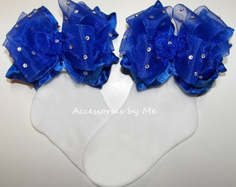 Glitzy Ruffle Socks, Royal Blue Pageant Socks, Blue Trim Organza Ruffle Ribbon Bow Sock, Baby Girls Toddler Dress Up Cinderella Custom Socks
