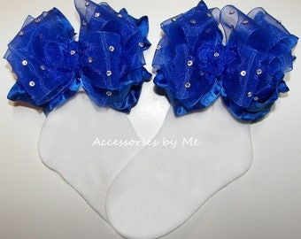 Glitzy Ruffle Socks, Royal Blue Organza Ruffles, Baby Girls Infant Toddler Child Accessory, Dress Up, Cinderella Pageant, 1st Birthday Party