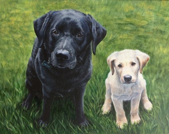 "Custom Portrait Pet Painting in acrylic, 18x24"", Two subject"