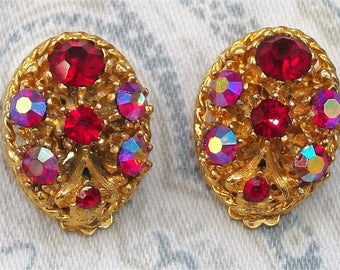Vintage Gold Tone Red and Pink Aurora Borealis Rhinestone Clip On Earrings