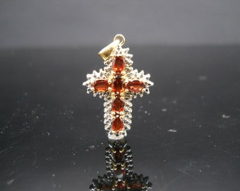 Sterling Silver Cross Pendant Garnet Small 925 Gold Overlay