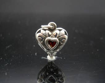 Sterling Silver Red Crystal Heart Pendant Only Bali Scroll Design 925 Jewelry