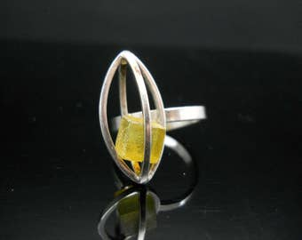 Sterling Silver Odd Caged Cube Ring Size 8 Adjustable Unique Different 925 Jewelry